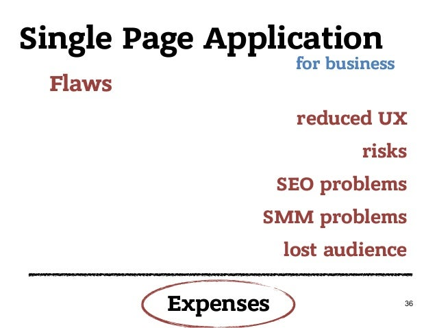Single Page Application Flaws for business reduced UX risks SEO problems SMM problems lost audience 36 Expenses