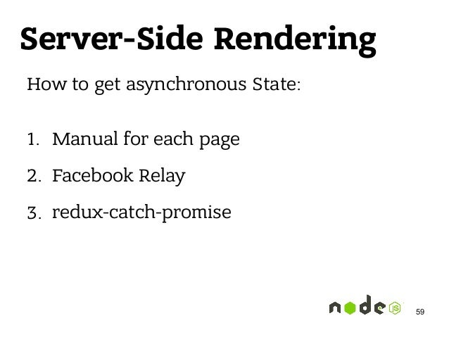 Server-Side Rendering How to get asynchronous State: 1. Manual for each page 2. Facebook Relay 3. redux-catch-promise 59