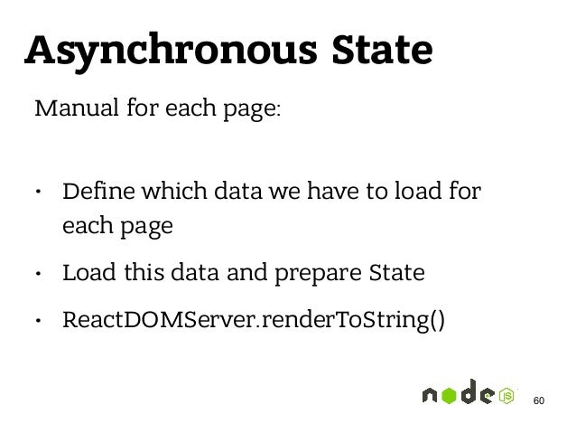 Asynchronous State Manual for each page: • Define which data we have to load for each page • Load this data and prepare St...
