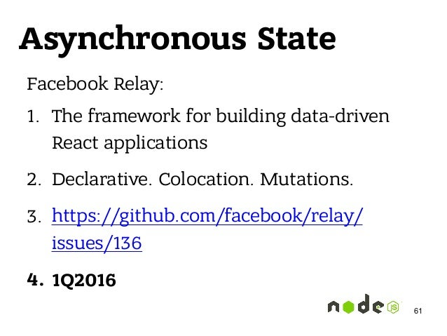 Asynchronous State Facebook Relay: 1. The framework for building data-driven React applications 2. Declarative. Colocation...