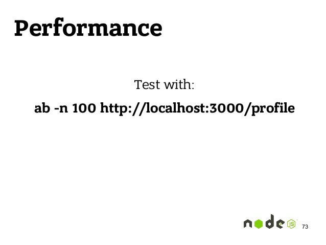 Performance Test with: ab -n 100 http://localhost:3000/profile 73
