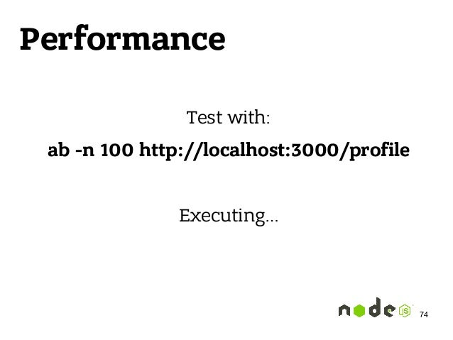Performance Test with: ab -n 100 http://localhost:3000/profile Executing… 74
