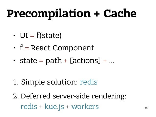 Precompilation + Cache • UI = f(state) • f = React Component • state = path + [actions] + … 1. Simple solution: redis 2. ...