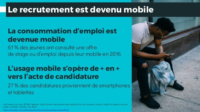 La consommation d'emploi est devenue mobile L'usage mobile s'opère de + en + vers l'acte de candidature > JobTeaser.com av...
