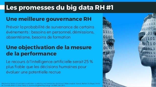 Les promesses du big data RH #1 Une meilleure gouvernance RH Prévoir la probabilité de survenance de certains événements :...