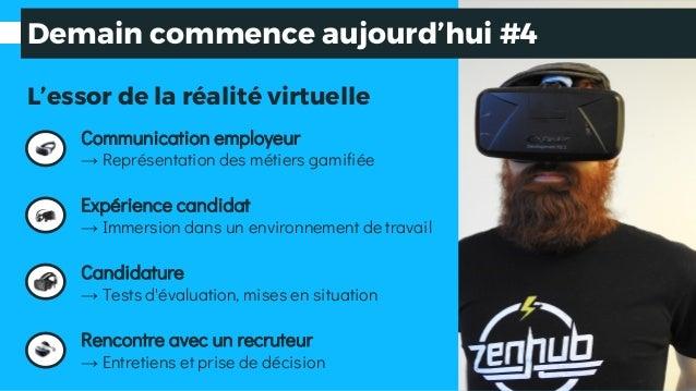 L'essor de la réalité virtuelle Communication employeur → Représentation des métiers gamifiée Expérience candidat → Immers...