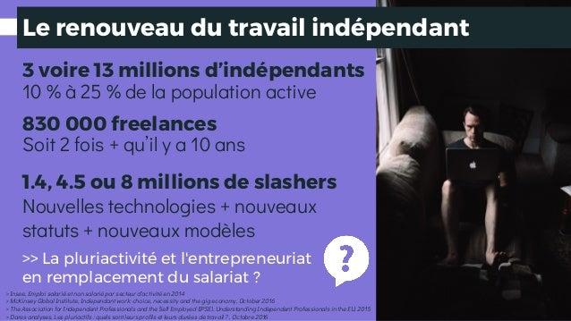 3 voire 13 millions d'indépendants 830 000 freelances Soit 2 fois + qu'il y a 10 ans 1.4, 4.5 ou 8 millions de slashers > ...