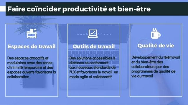 Faire coïncider productivité et bien-être Qualité de vie Développement du télétravail et du bien-être des collaborateurs p...