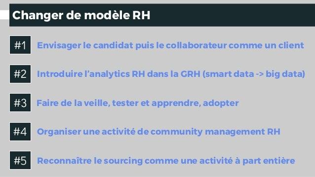 Changer de modèle RH Introduire l'analytics RH dans la GRH (smart data -> big data) Envisager le candidat puis le collabor...