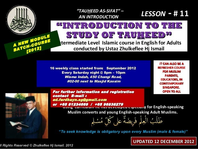 """TAUHEED AS-SIFAT"" –                                                   AN INTRODUCTION                LESSON - # 11       ..."