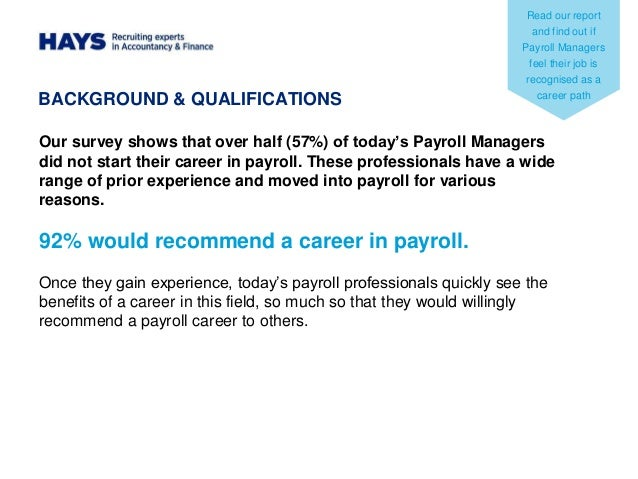 HAYS – Payroll Manager Job Description