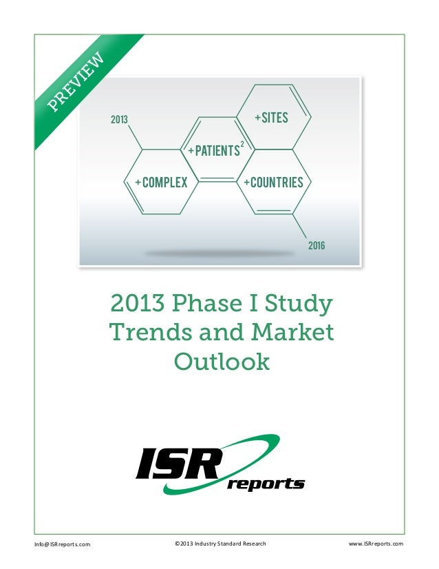 +COUNTRIES2016+SITES+COMPLEX2013+PATients2013 Phase I StudyTrends and MarketOutlookInfo@ISRreports.com ©2013 Indu...