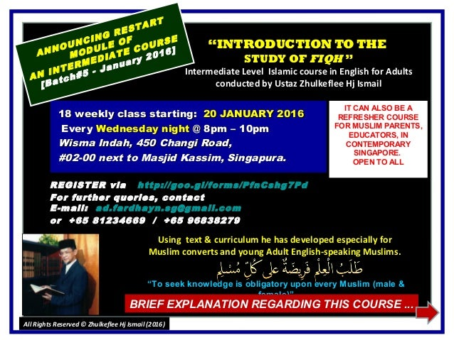 """""INTRODUCTION TO THEINTRODUCTION TO THE STUDY OFSTUDY OF FIQHFIQH """" Intermediate Level Islamic course in English for Adu..."