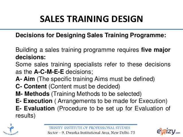 Sales Management Sales Training Design