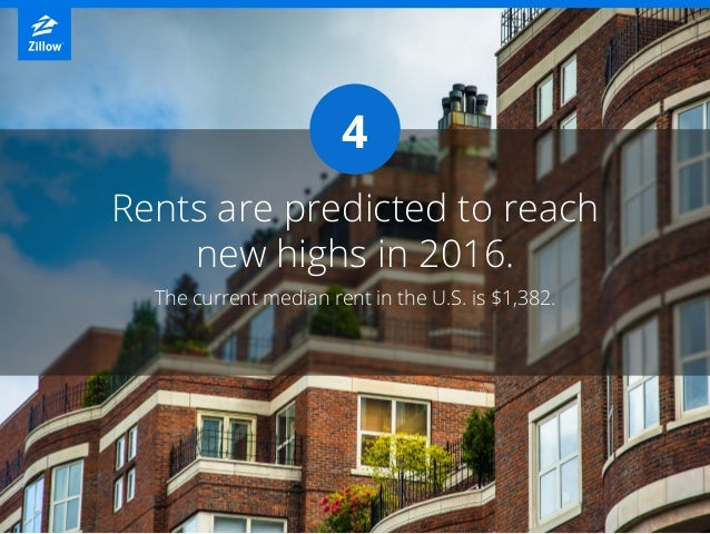 4 The current median rent in the U.S. is $1,382. Rents are predicted to reach new highs in 2016.