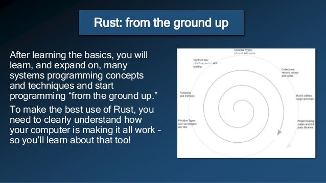 Rust: from the ground up After learning the basics, you will learn, and expand on, many systems programming concepts and t...