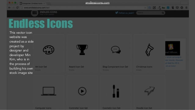 Endless IconsThis vector icon website was created as a side project by designer and developer Min Kim, who is in the proce...
