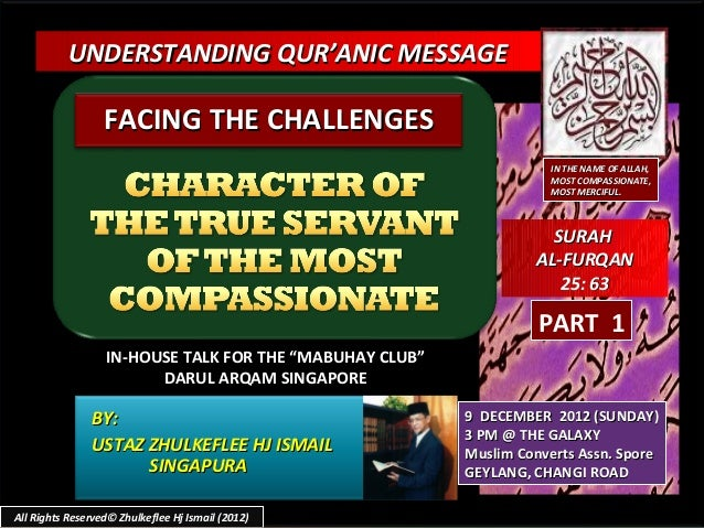 UNDERSTANDING QUR'ANIC MESSAGE                  FACING THE CHALLENGES                                                     ...