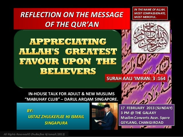 IN THE NAME OF ALLAH,             REFLECTION ON THE MESSAGE                           MOST COMPASSIONATE,                 ...