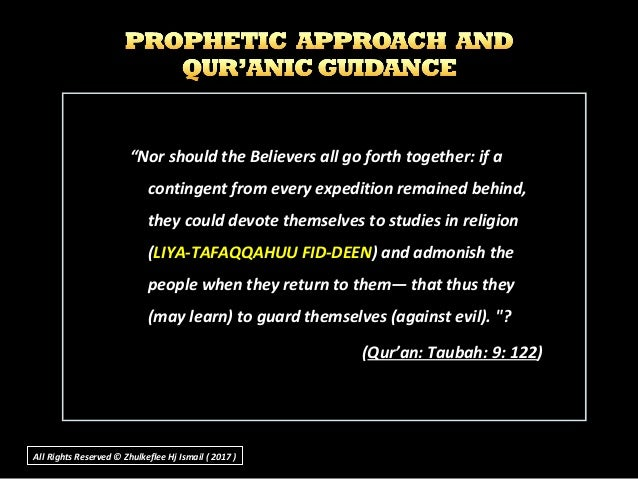 """""""Nor should the Believers all go forth together: if a contingent from every expedition remained behind, they could devote ..."""