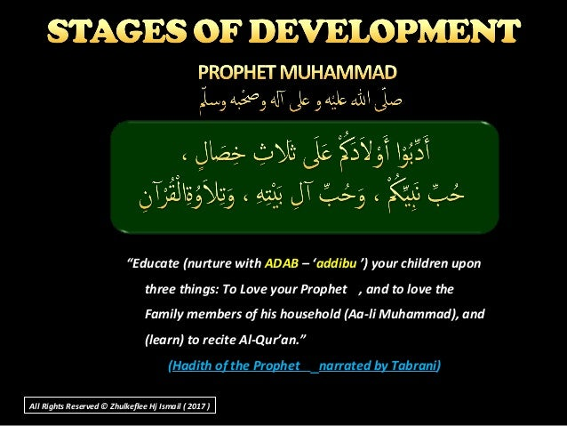"""""""Educate (nurture with ADAB – 'addibu ') your children upon three things: To Love your Prophet , and to love the Family me..."""