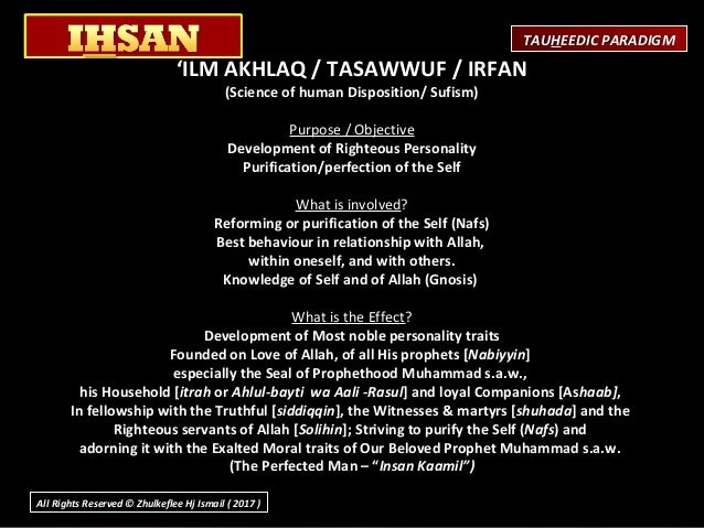 'ILM AKHLAQ / TASAWWUF / IRFAN (Science of human Disposition/ Sufism)  Purpose/Objective Development of Righteous Perso...