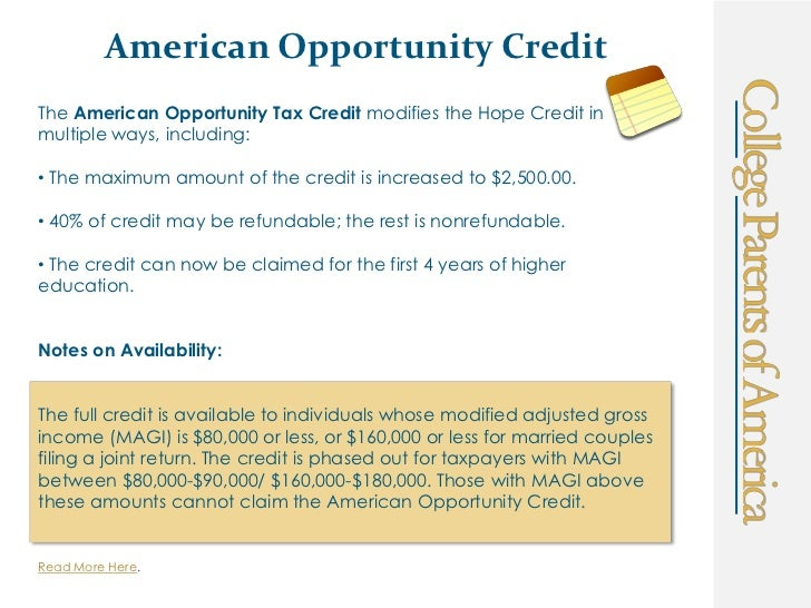 Room And Board American Opportunity Credit