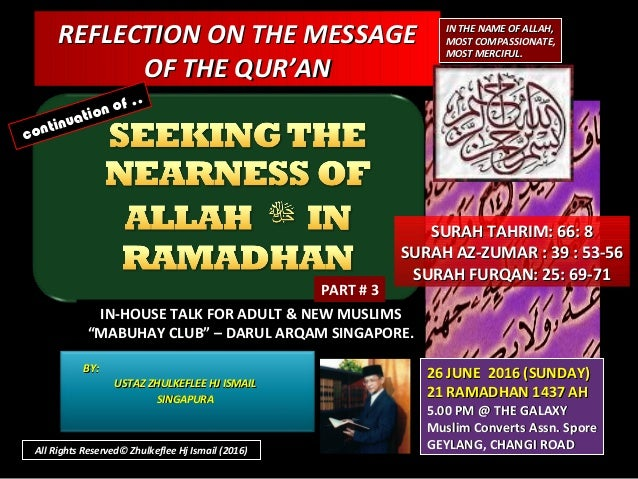 REFLECTION ON THE MESSAGEREFLECTION ON THE MESSAGE OF THE QUR'ANOF THE QUR'AN IN THE NAME OF ALLAH,IN THE NAME OF ALLAH, M...