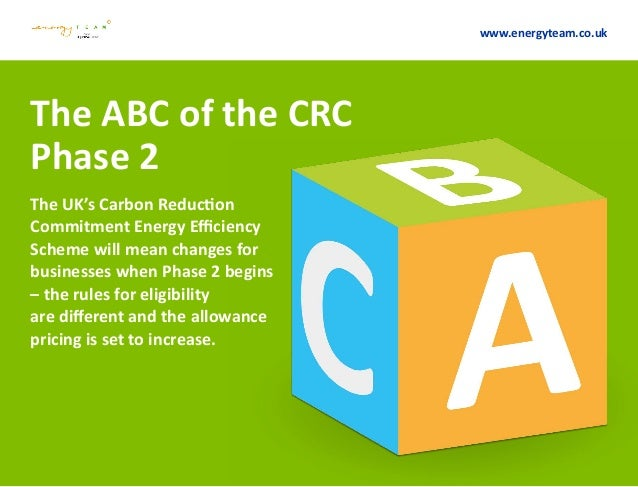 The ABC of the CRC Phase 2 The UK's Carbon Reduction Commitment Energy Efficiency Scheme will mean changes for businesses ...