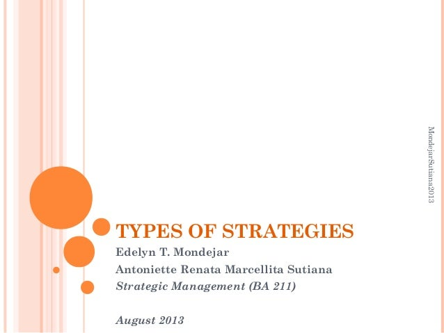 TYPES OF STRATEGIES Edelyn T. Mondejar Antoniette Renata Marcellita Sutiana Strategic Management (BA 211) August 2013 Mond...