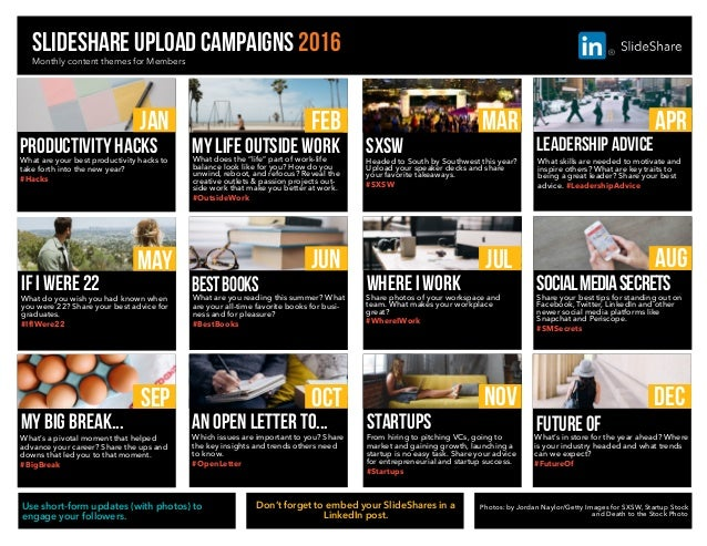 slideshare upload campaigns 2016Monthly content themes for Members JAN What are your best productivity hacks to take forth...
