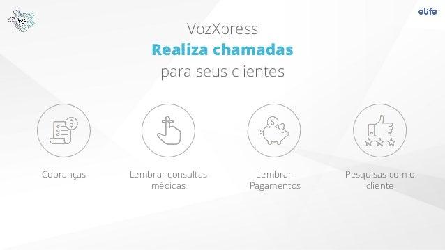 VozXpress Realiza chamadas para seus clientes Cobranças Lembrar consultas médicas Lembrar Pagamentos Pesquisas com o clien...