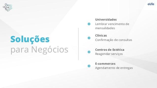 Soluções para Negócios Universidades Lembrar vencimento de mensalidades Clínicas Confirmação de consultas Centros de Estéti...