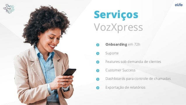 Serviços VozXpress Onboarding em 72h Suporte Features sob demanda de clientes Customer Success Dashboards para controle de...