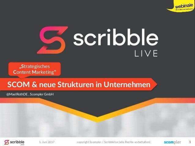 SCOM & neue Strukturen in Unternehmen 1. Juni 2017 copyright Scompler / Scribblelive (alle Rechte vorbehalten) 1 @MaelRoth...