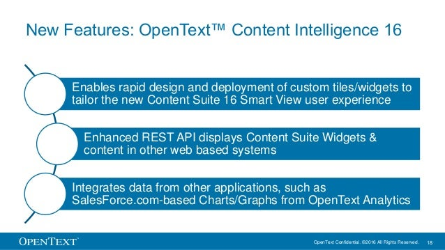 OpenText Confidential. ©2016 All Rights Reserved. 18 New Features: OpenText™ Content Intelligence 16 Enables rapid design ...
