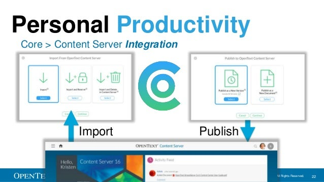 OpenText Confidential. ©2016 All Rights Reserved. 22 Import Publish Personal Productivity Core > Content Server Integration