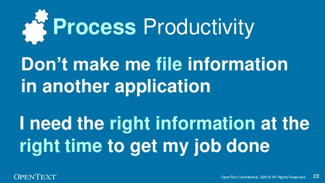 OpenText Confidential. ©2016 All Rights Reserved. 2323 Process Productivity Don't make me file information in another appl...