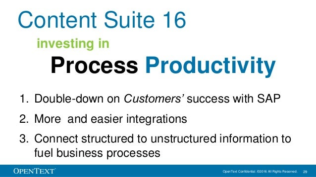 OpenText Confidential. ©2016 All Rights Reserved. 29 Content Suite 16 1. Double-down on Customers' success with SAP 2. Mor...