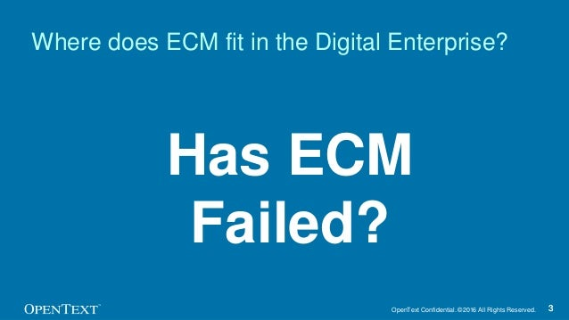 OpenText Confidential. ©2016 All Rights Reserved. 33 Has ECM Failed? Where does ECM fit in the Digital Enterprise?