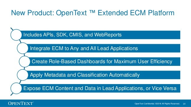 OpenText Confidential. ©2016 All Rights Reserved. 31 New Product: OpenText ™ Extended ECM Platform Includes APIs, SDK, CMI...