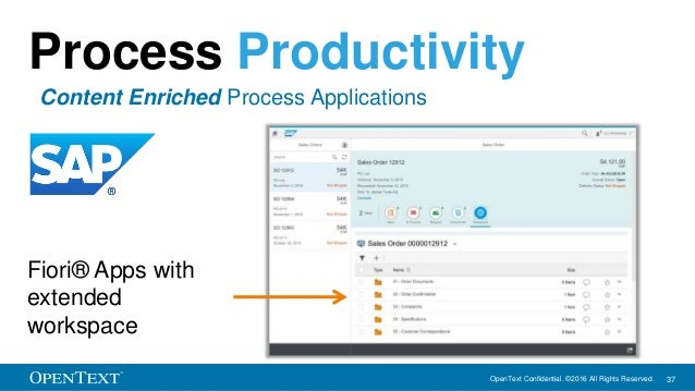 OpenText Confidential. ©2016 All Rights Reserved. 37 Fiori® Apps with extended workspace Process Productivity Content Enri...