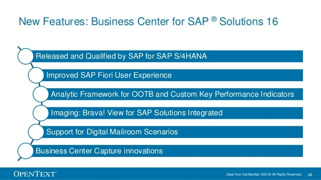 OpenText Confidential. ©2016 All Rights Reserved. 38 New Features: Business Center for SAP ® Solutions 16 Released and Qua...