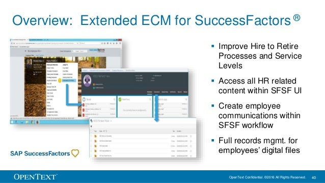 OpenText Confidential. ©2016 All Rights Reserved. 40 Overview: Extended ECM for SuccessFactors ®  Improve Hire to Retire ...