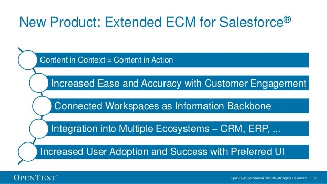 OpenText Confidential. ©2016 All Rights Reserved. 41 New Product: Extended ECM for Salesforce® Content in Context = Conten...