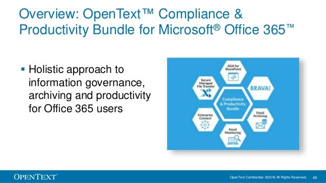 OpenText Confidential. ©2016 All Rights Reserved. 49 Overview: OpenText™ Compliance & Productivity Bundle for Microsoft® O...