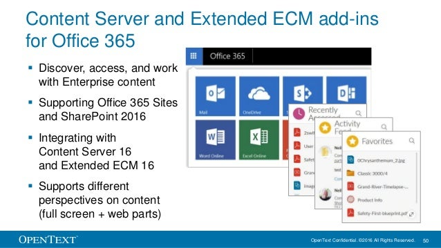 OpenText Confidential. ©2016 All Rights Reserved. 50 Content Server and Extended ECM add-ins for Office 365  Discover, ac...