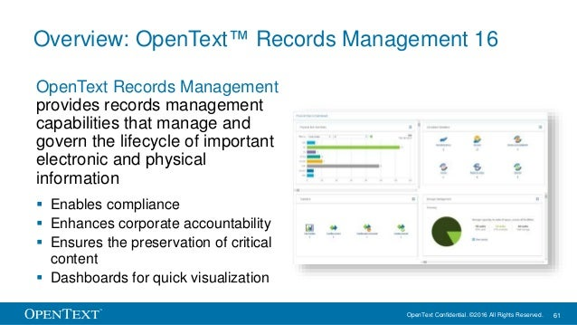 OpenText Confidential. ©2016 All Rights Reserved. 61 Overview: OpenText™ Records Management 16 OpenText Records Management...