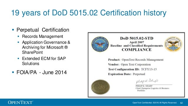 OpenText Confidential. ©2016 All Rights Reserved. 62 19 years of DoD 5015.02 Certification history  Perpetual Certificati...