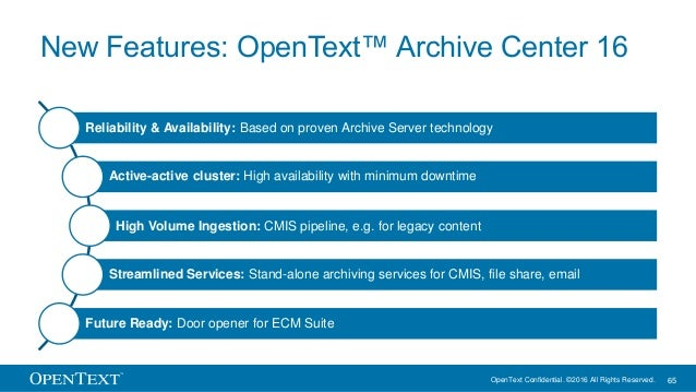 OpenText Confidential. ©2016 All Rights Reserved. 65 New Features: OpenText™ Archive Center 16 Reliability & Availability:...